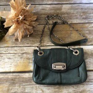 Green leather cross body purse, bag. B. makowsky